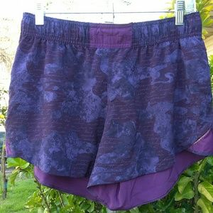 Lululemon Purple & Black Exercise Shorts Size 10